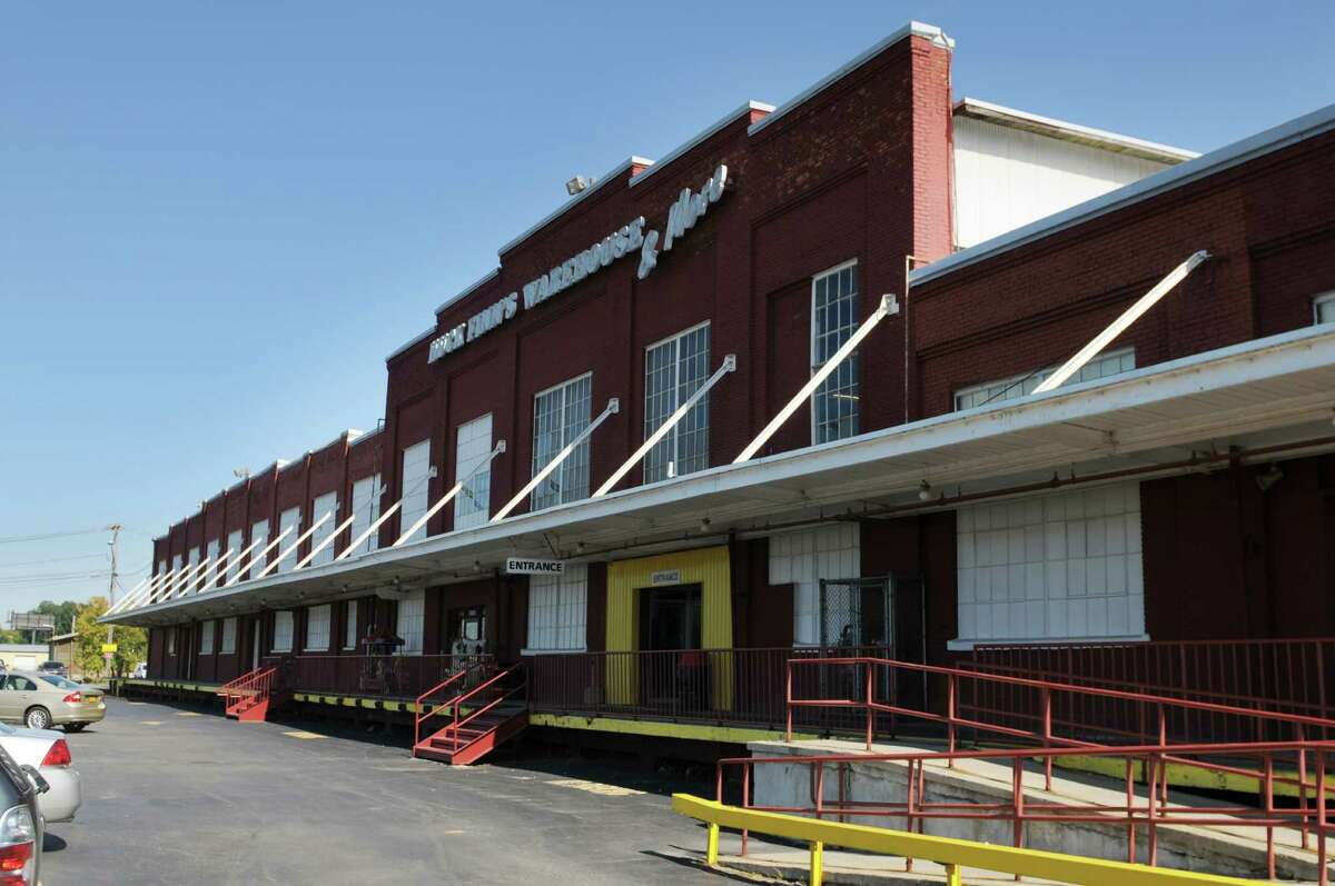 Huck Finn?'s Warehouse and More Friday afternoon, Sept. 19, 2014, in Albany, N.Y. Land near the furniture store is being considered as a new site for the Hoffman's Playland rides. (Will Waldron/Times Union)