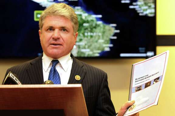 "U.S. Rep. Michael McCaul, head of the House Committee on Homeland Security, speaks at the Rice University's Baker Institute for Public Policy during a press conference to unveil his committee's ""Blueprint for Southern Border Security"" Monday, Oct. 6, 2014, in Houston."
