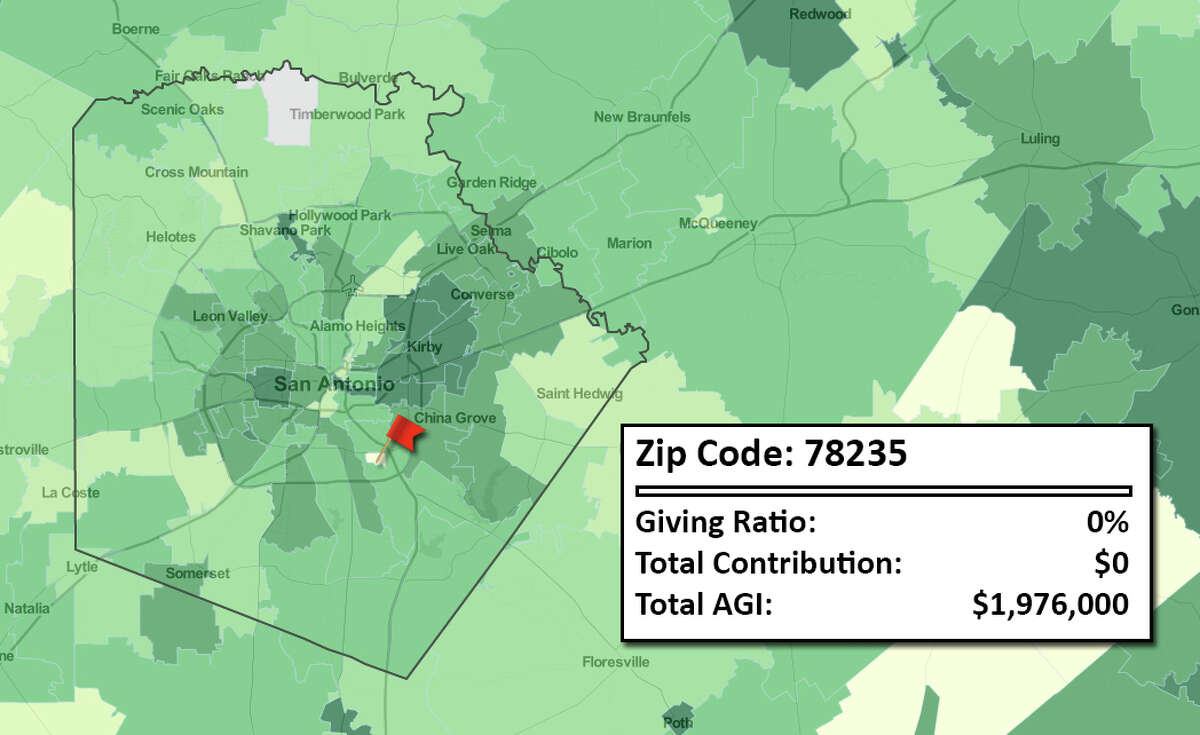 40. 78235  New IRS data obtained and analyzed by the Chronicle of Philanthropy shows how much Americans reported giving in charitable contributions in 2012. Total AGI represents total adjusted gross income for the zip code.