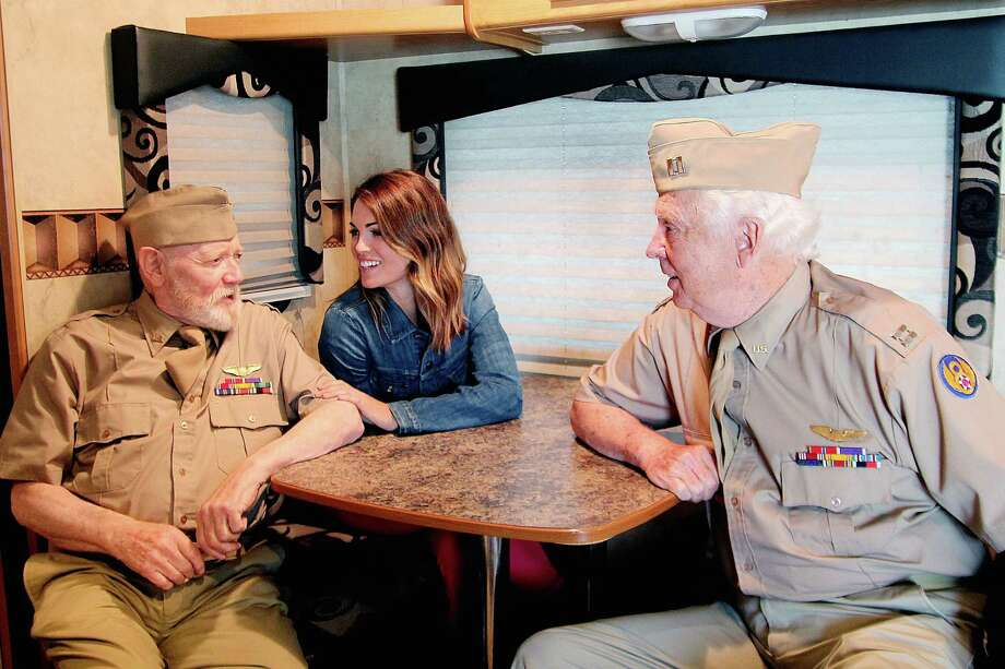 "Actors Morgan Sheppard, left, Kate French and James MacKrell relax at VFW Pearland Memorial Post 7109 before filming starts on a scene for the movie ""Last Man Club."" Some members of the post were used as extras in the scenes. Photo: Pin Lim, Freelance / Copyright Pin Lim."