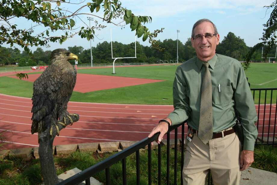 Dean Unsicker, Rosehill Christian School Head of School, shows off the campus eagle that overlooks the athletic complex. Rosehill is celebrating it's 25th anniversary and launching a capital campaign that will add two new buildings to the campus. Photo: Jerry Baker, Freelance