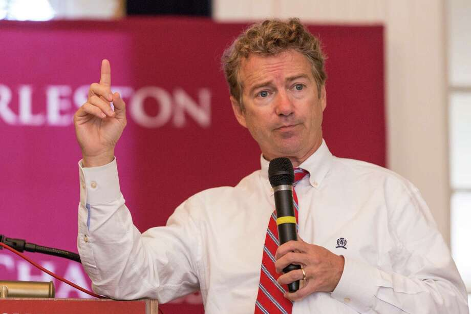 Sen. Rand Paul, a rumored Republican presidential candidate in 2016, is starring at a GOP fundraiser in Woodside on Wednesday. (Photo by Richard Ellis/Getty Images) Photo: Richard Ellis / Richard Ellis / Getty Images / 2014 Getty Images