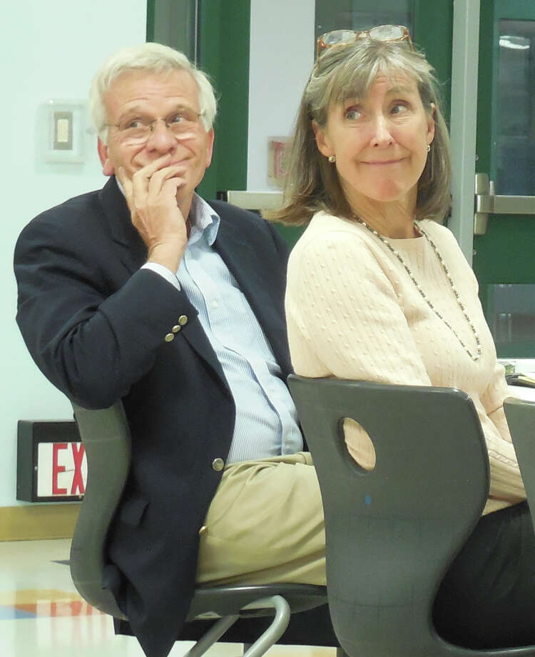 Bill Brautigan (left) and Deborah B. Brennan of the National Executive Service Corps at Monday's Board of Education meeting. The group was hired by the board to come up with cost-saving ideas for the school system's budget. Photo: Anne M. Amato / westport news