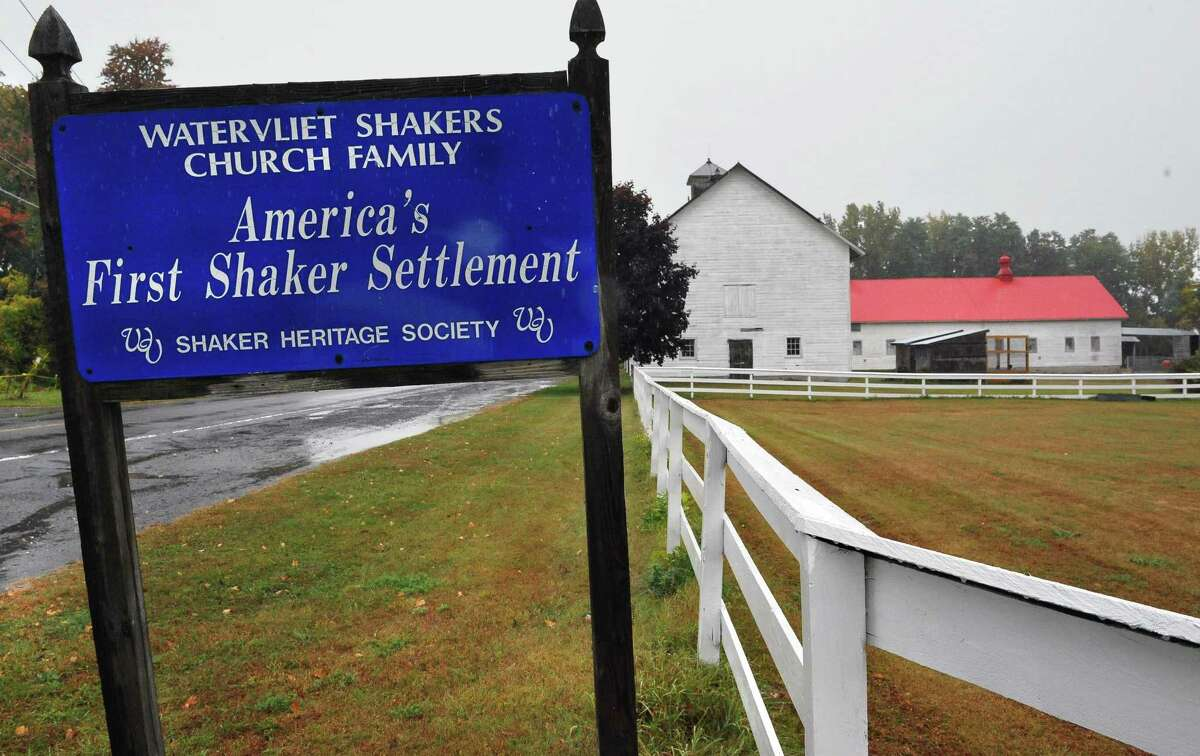 Sign at the entrance to the Shaker Heritage Society historic site Saturday Oct. 4, 2014, in Colonie, NY. (John Carl D'Annibale / Times Union)