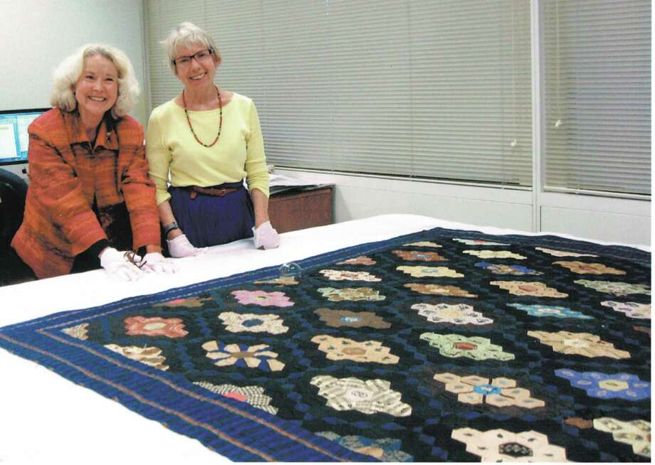 Katherine J. Adams Quilt Curator (right) at the Briscoe Center for American History The University of Texas at Austin and Deborah Burkett (left). Photo: Provided By Deborah Burkett
