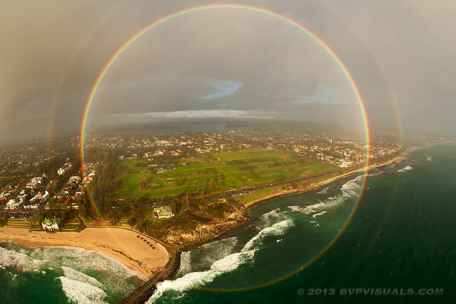 This double full-circle rainbow was seen in 2013 from a helicopter over Perth, Australia. (Photo: Colin Leonhardt, Bird's Eye View Photography)Photos: Other weird weather phenomena spotted in the U.S. …