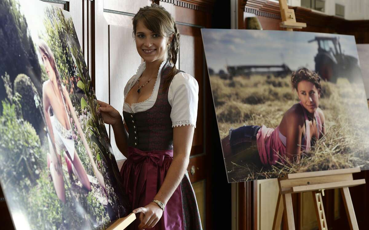 Black Forest cheesecake: Magdalena poses next to her photo for the new
