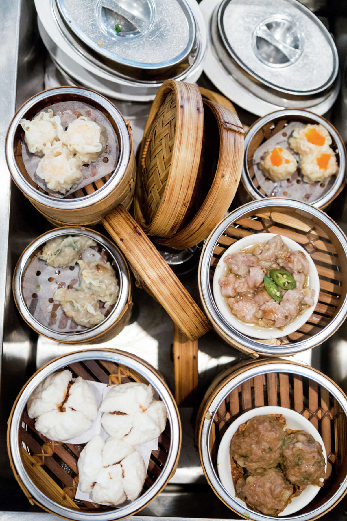 A variety of steam basket items are available as part of City View's dim sum offerings.