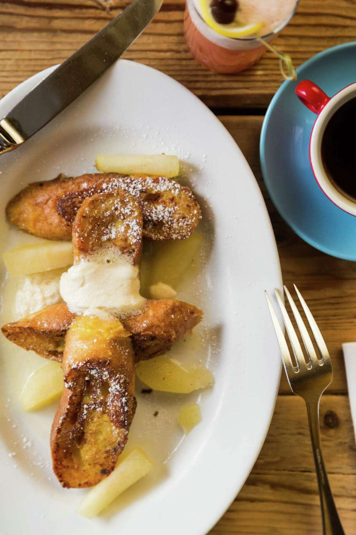 French toast with apples is a classic brunch favorite at Foreign Cinema in San Francisco.