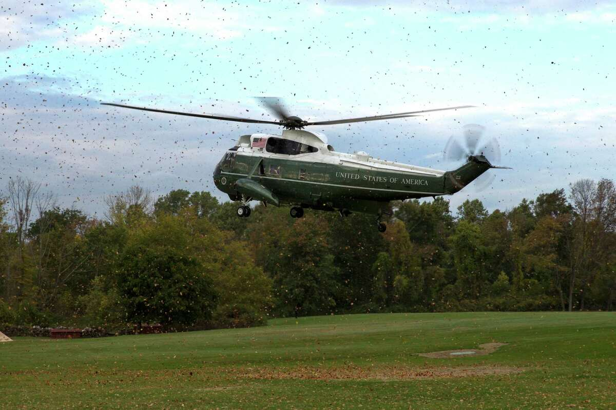 Marine One carrying President Barack Obama arrives for a fundraiser, on Tuesday, Oct. 7, 2014, in Greenwich, Conn. Obama is traveling to New York and Connecticut for Democratic fundraisers.