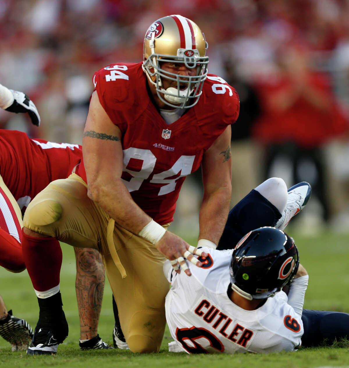 Justin Smith sacks the Bears' Jay Cutler in a game where the defense had a rare failure this season.
