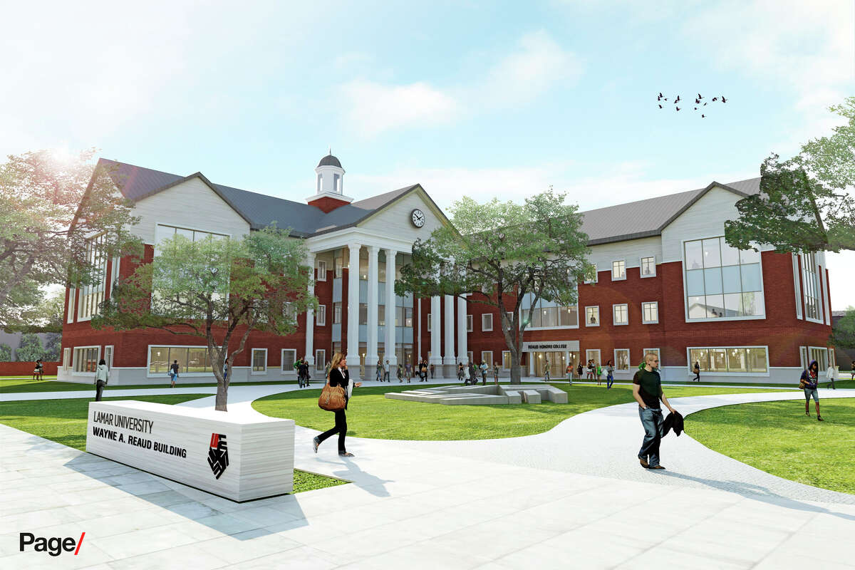 An artist rendering of the new Lamar University administration building.