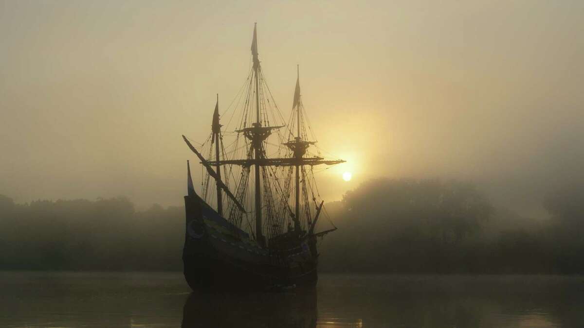 Taken during sunrise at Jennings Landing on Sept. 28. Henry Hudson's replica ship, the Half Moon. (Brittany Mejia)