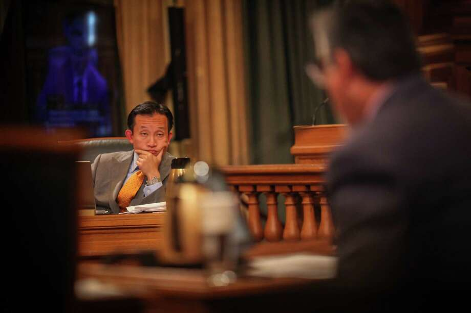 David Chiu, president of the San Francisco Board of Supervisors, during a Board of Supervisors meeting which discussed Chiu's proposed legislation to regulate Airbnb and other short-term rentals in San Francisco on October 7th 2014. Photo: Sam Wolson / Special To The Chronicle / ONLINE_YES
