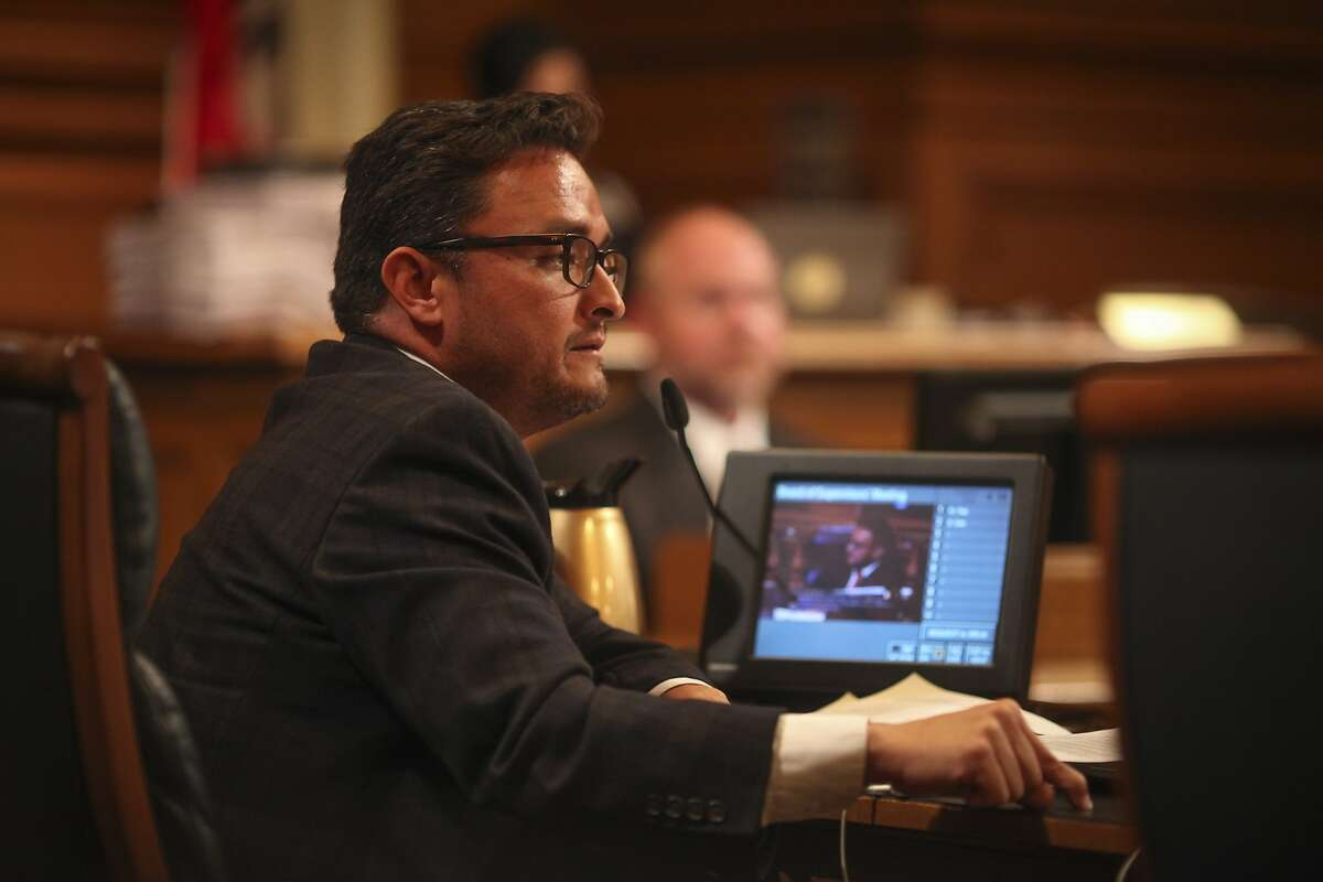 Supervisor David Campos speaks during a Board of Supervisors meeting which discussed David Chiu's proposed legislation to regulate Airbnb and other short-term rentals in San Francisco on October 7th 2014.
