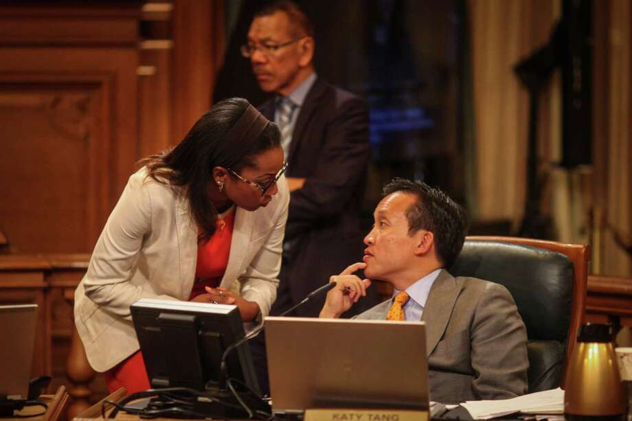 Supervisors David Chiu (right) and Malia Cohen talk last fall. His Airbnb law goes into effect Feb. 1. Photo: Sam Wolson / Special To The Chronicle / ONLINE_YES
