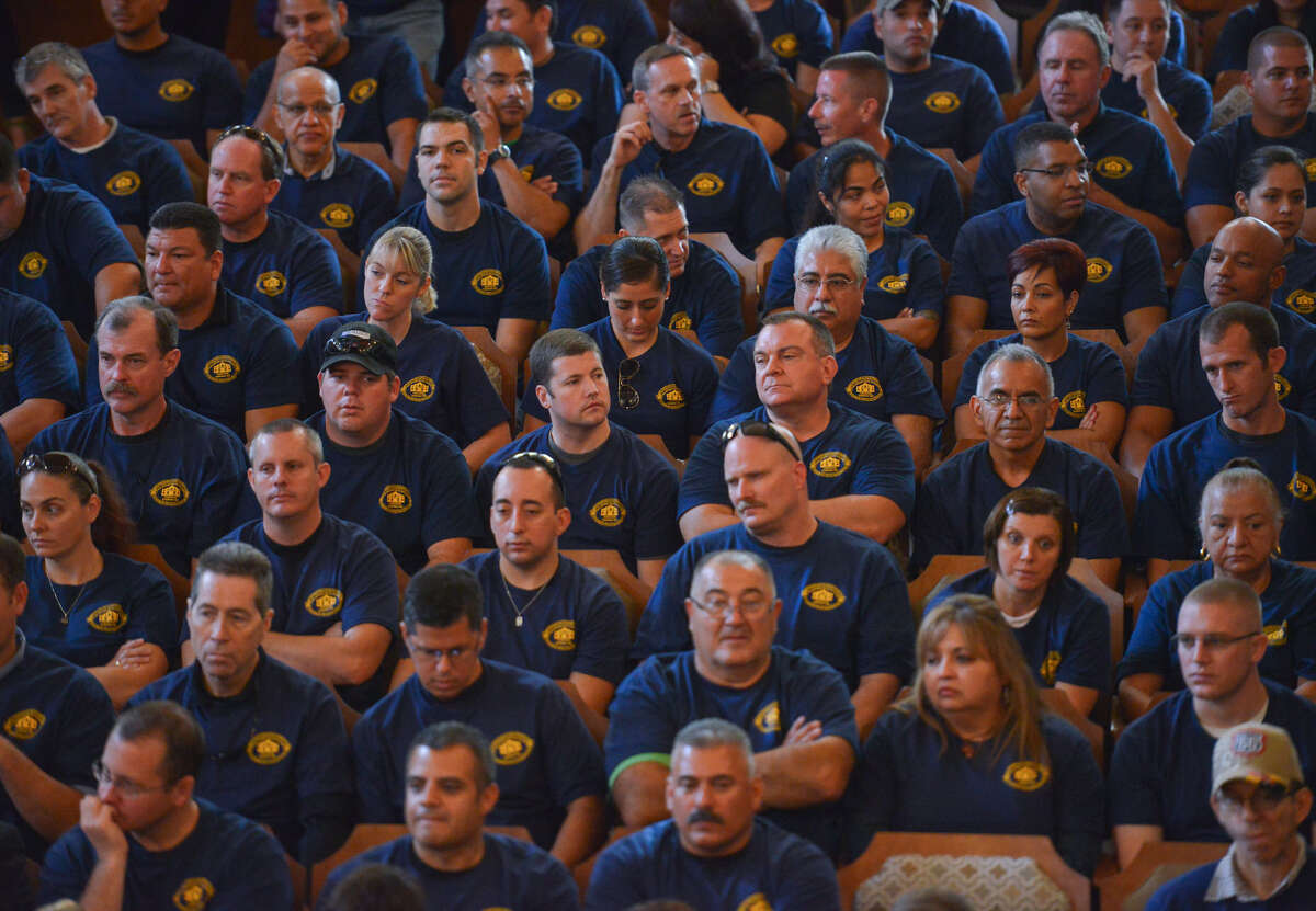 Members of the police and firefighters unions showed up en masse as the City Council discussed San Antonio's 2015 budget.