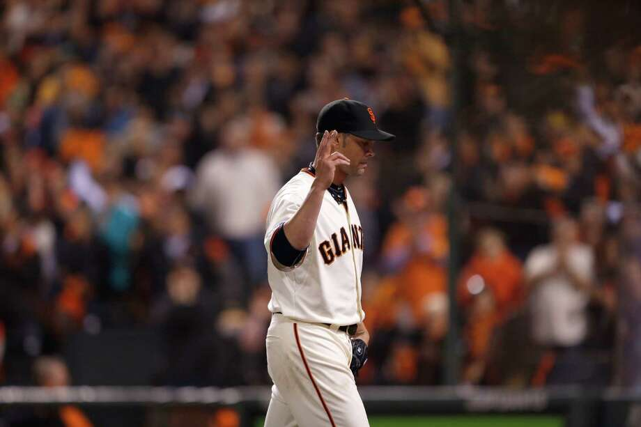 Ryan Vogelsong acknowledges the home fans as he leaves Game 4 of last season's NLDS, having allowed two hits and one run in 5