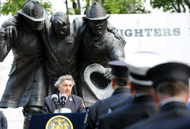 Rabbi Joseph Potasnik of the New York Board of Rabbis delivers the invocation during the New York State Fallen Firefighters Memorial Ceremony on Tuesday, Oct. 7, 2014, at the Empire State Plaza in Albany, N.Y. (Cindy Schultz / Times Union) Photo: Cindy Schultz, Albany Times Union / 00028598A