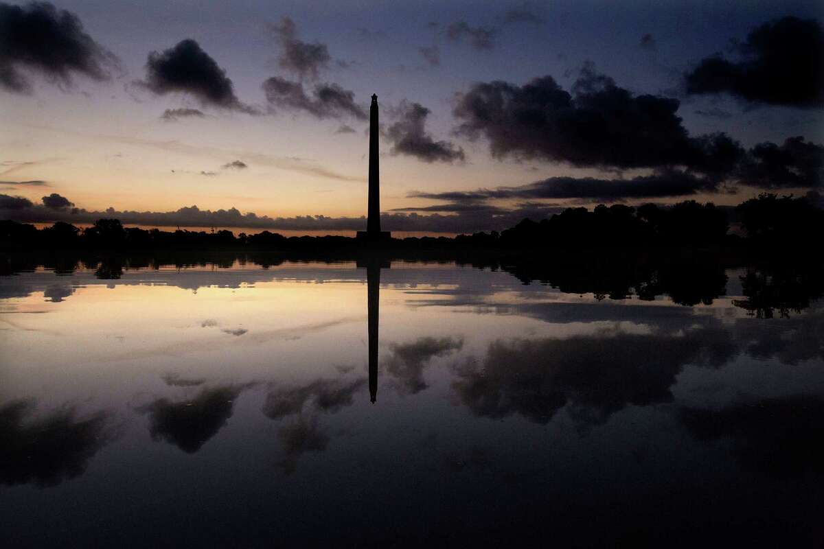 The San Jacinto Monument at sunrise Wednesday, Oct. 8, 2014, in LaPorte.