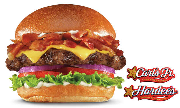 Mile High Bacon Cheese Thickburger at Carl  Jr. and Hardee's: a ½-pound charbroiled beef patty topped with American cheese, red onion,