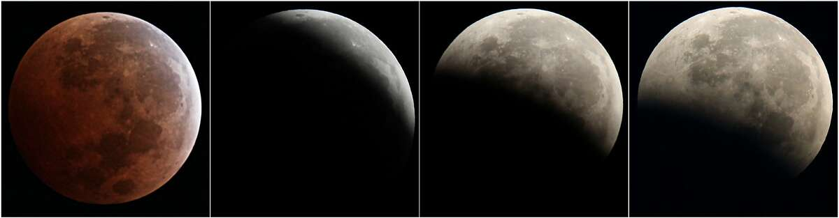 This combo of four photos from left to right shows a total lunar eclipse seen from Mexico City, Wednesday, Oct. 8, 2014. The moon appears orange or red, the result of sunlight scattering off Earth's atmosphere. This is known as the blood moon. (AP Photo/Marco Ugarte)
