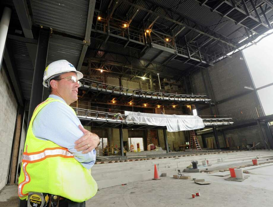 Paul Taormina, Turner project manager for the MISA performing-arts complex, during a tour of the interior of the site at Greenwich High School, Conn., Tuesday, Oct. 7, 2014. Photo: Bob Luckey / Greenwich Time