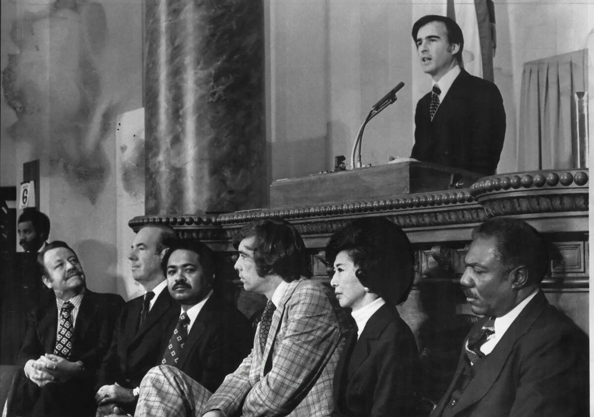 Jerry Brown delivers his inaugural address on Jan. 6, 1975, after his first election as Calfornia governor. He was a reformer and a crusader back then. Is that still the case?