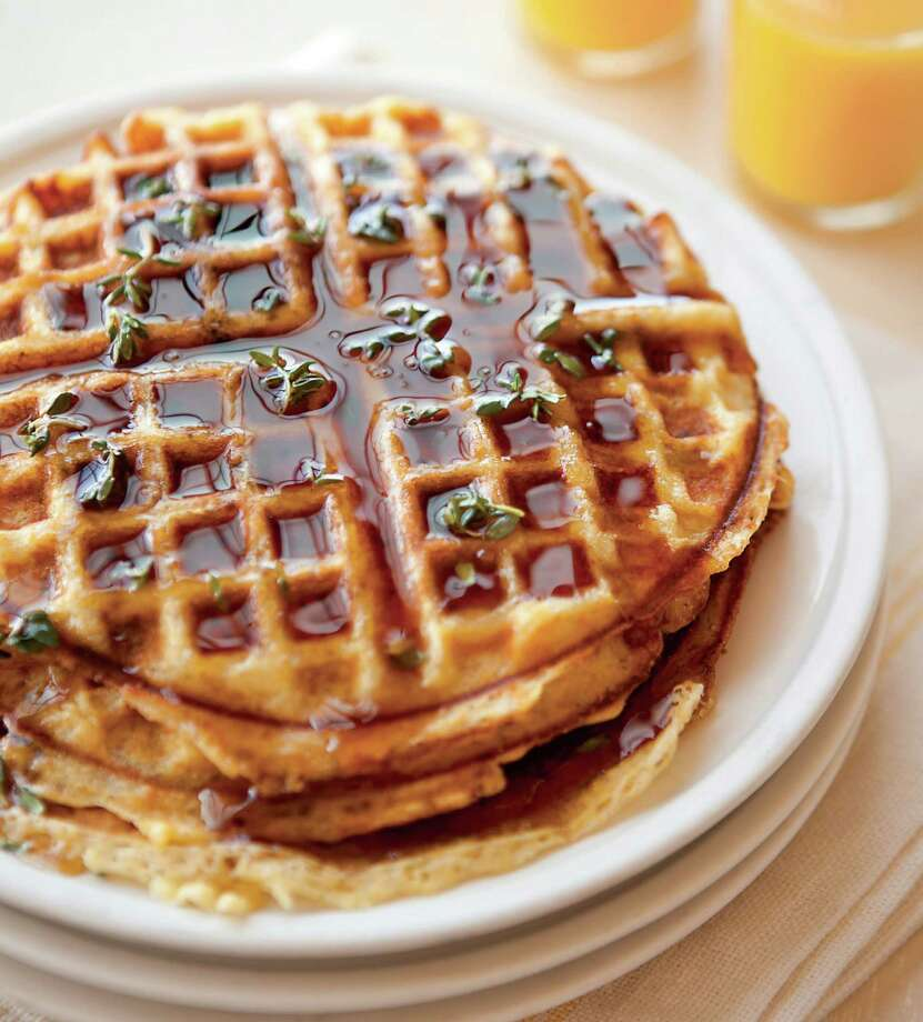 "Cornmeal-Bacon Waffles With Thyme-Infused Syrup. From ""Waffles: Sweet & Savory Recipes for Every Meal"" by Tara Duggan. Photo: Erin Kunkel / Weldon Owen / ONLINE_YES"