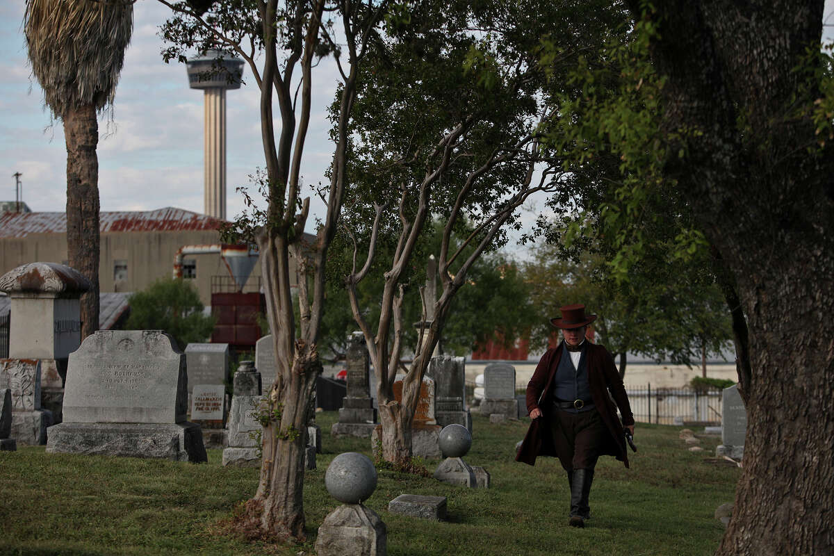 ... that leads to Mission Espada Cemetery. This brings to mind San Antonio's many historic cemeteries.