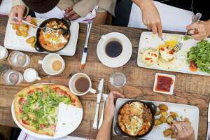 Brunch fare includes vegetarian flatbread with avocado and other favorites at the Vestry at the Chapel in San Francisco.