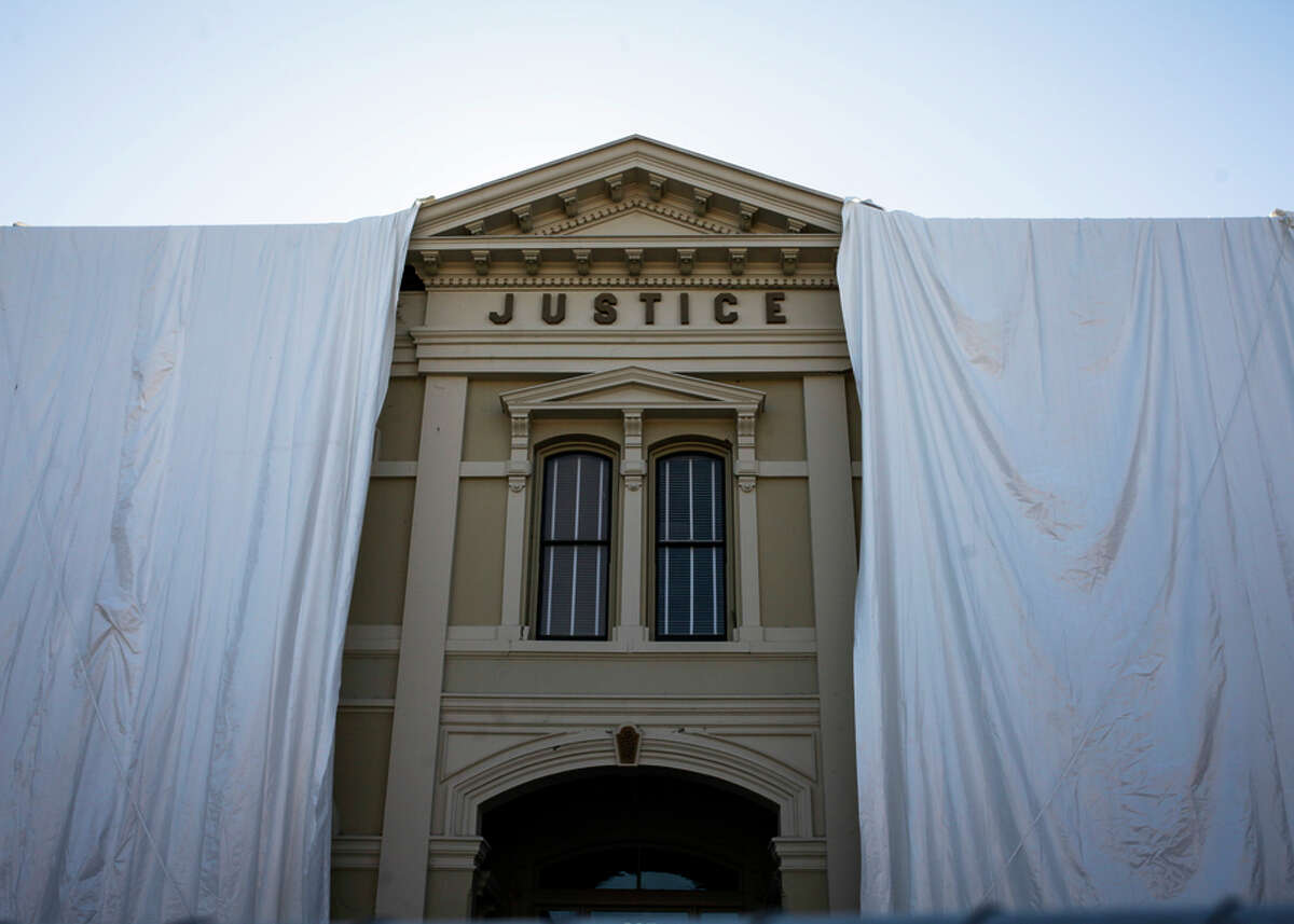 The historic courthouse in downtown Napa is seen in October. The 1870s structure was red-tagged after the August quake.