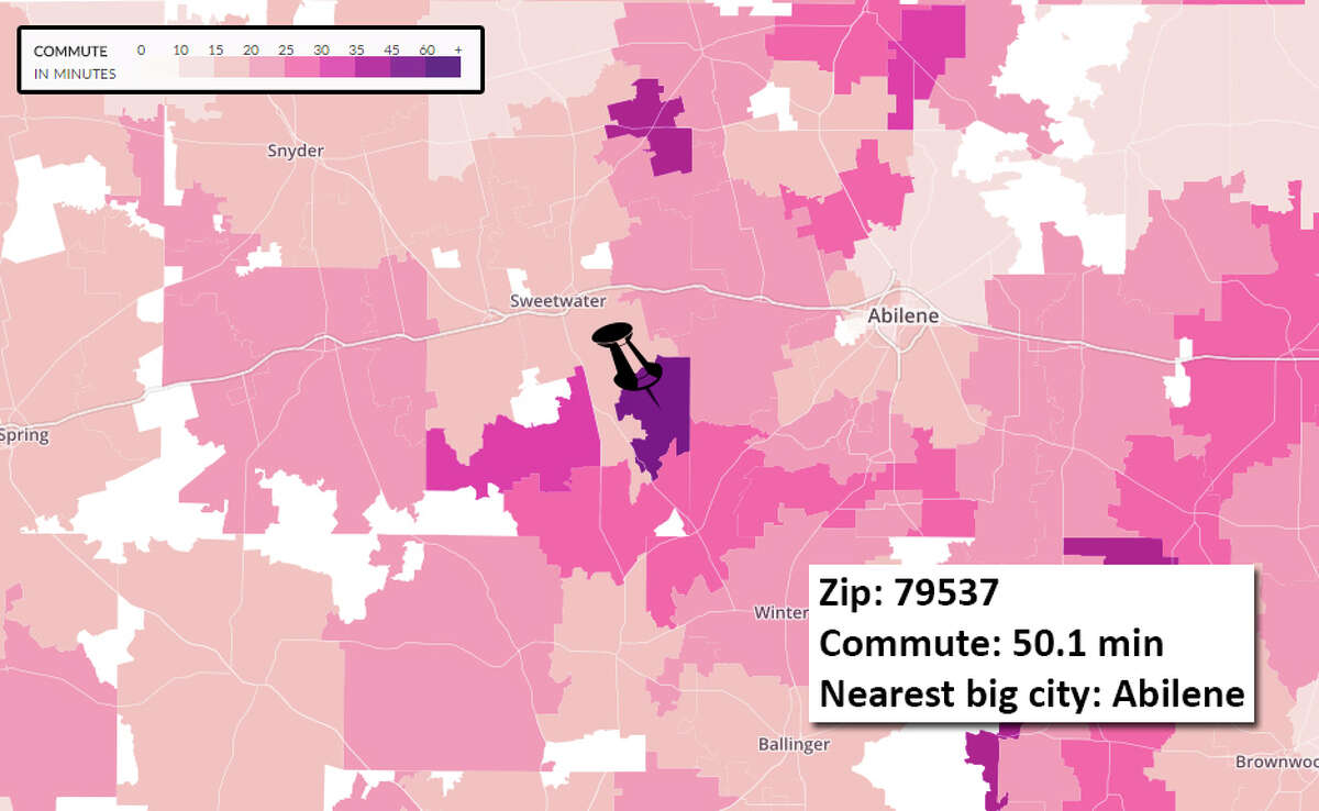 10. 79537 The Average Commute Times map from WNYC in New York City sourced data from the U.S. Census Bureau to plot average reported commute times in ZIP codes across the U.S.