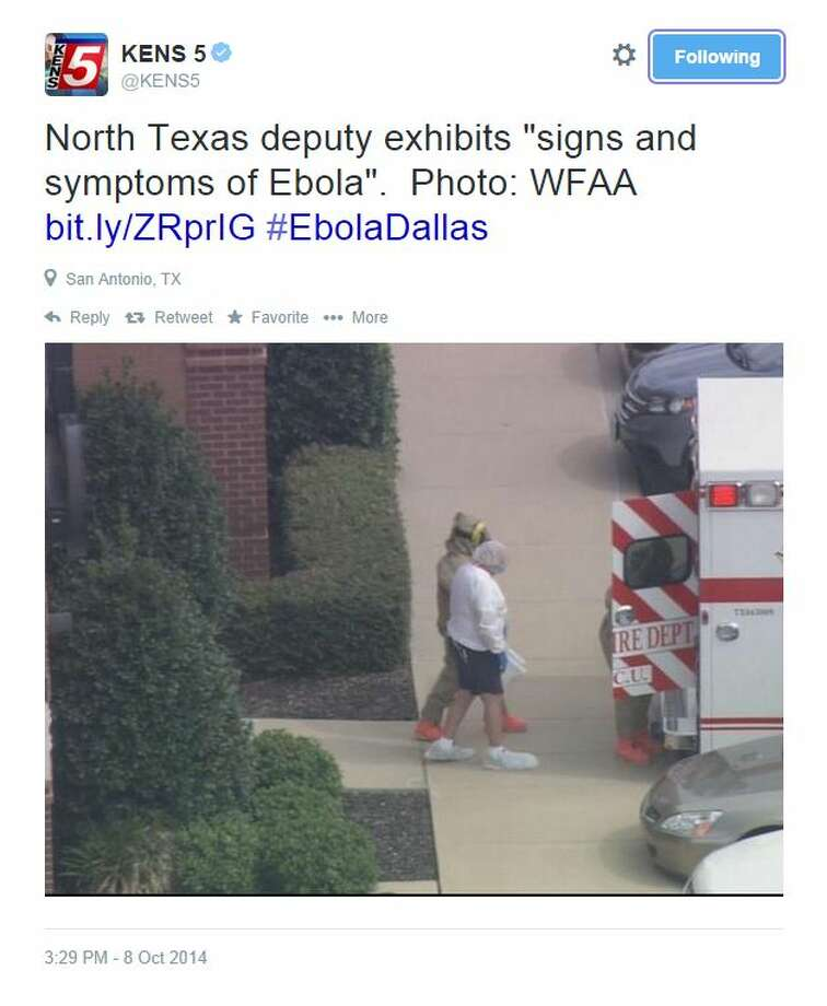 "@KENS5 tweeted, ""North Texas deputy exhibits ""signs and symptoms of Ebola"".  Photo: WFAA  http://bit.ly/ZRprIG  #EbolaDallas"" Photo: Fechter, Joshua I, Screenshot Via Twitter"