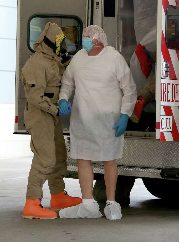 A possible Ebola patient is brought to the Texas Health Presbyterian Hospital on October 8, 2014 in Dallas, Texas. Thomas Eric Duncan, the first confirmed Ebola virus patient in the U.S., died earlier today. Photo: Joe Raedle / Getty Images / 2014 Getty Images