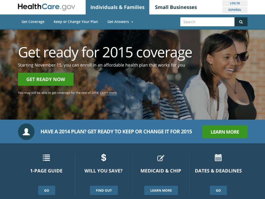The new home page of updated and streamlined HealthCare.gov, a federal government website where people can sign up for health insurance. Photo: Associated Press / U.S. Centers for Medicare & Medi