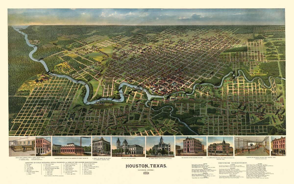 A Bird's Eye View of Houston illustration done in 1891.