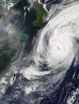 The Moderate Resolution Imaging Spectroradiometer (MODIS) on NASA's Aqua satellite acquired this natural-color image of Typhoon Phanfone at 1:55 p.m. Japan Standard Time (4:55 a.m. Universal Time) on Oct. 5, the day before making landfall. Photo: Jeff Schmaltz, NASA