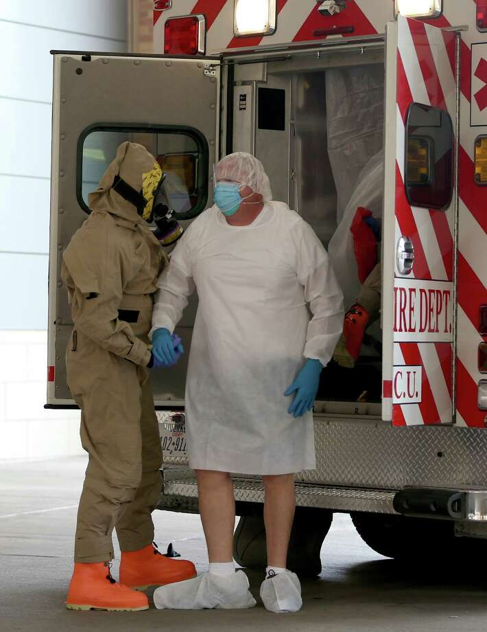 DALLAS, TX - OCTOBER 08:  A possible Ebola patient is brought to the Texas Health Presbyterian Hospital on October 8, 2014 in Dallas, Texas. Thomas Eric Duncan, the first confirmed Ebola virus patient in the U.S., died earlier today. Photo: Joe Raedle, Getty Images / 2014 Getty Images
