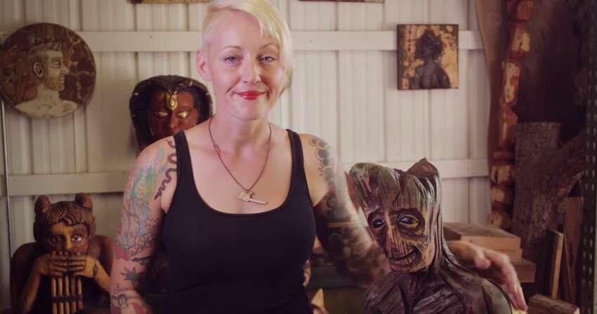 Griffon Ramsey, an Austin sculpture artist, created a wooden statue of the