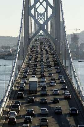 Traffic moves slowly over the Bay Bridge towards San Francisco, Calif. on Thursday, October 2, 2014.