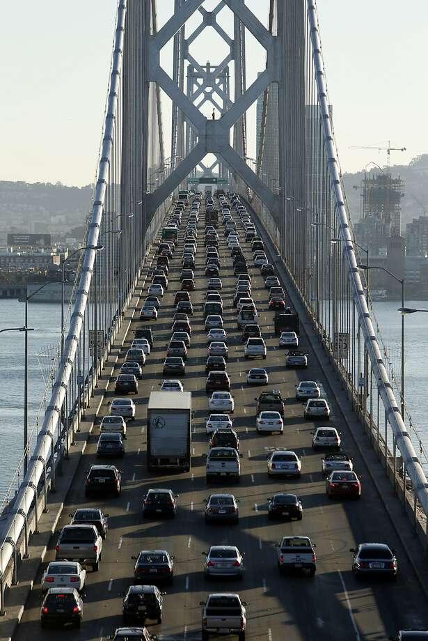 Traffic moves slowly over the Bay Bridge towards San Francisco, Calif. on Thursday, October 2, 2014. Photo: Scott Strazzante, The Chronicle