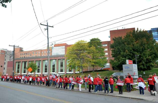 Local nurses represented by the New York Nursing Association and supporters picket outside Ellis Hospital on Wednesday Oct. 8, 2014 in Schenectady, N.Y.  (Michael P. Farrell/Times Union) Photo: Michael P. Farrell / 10028955A