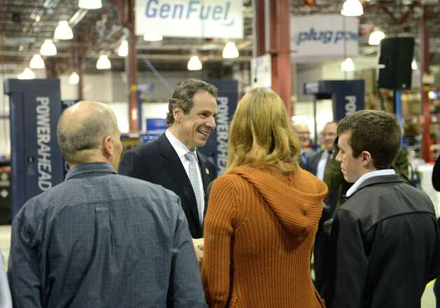 Gov. Andrew Cuomo greets workers at Plug Power where he was endorsed by the state Business Council Wednesday, Oct. 8, 2014, in Colonie, N.Y. (Will Waldron/Times Union) Photo: WW / 10028950A