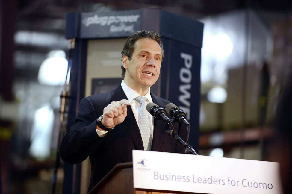 Gov. Andrew Cuomo speaks to workers and dignitaries at Plug Power where he was endorsed by the state Business Council Wednesday, Oct. 8, 2014, in Colonie, N.Y. (Will Waldron/Times Union)
