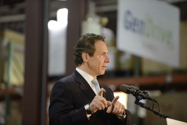 Gov. Andrew Cuomo speaks to workers and dignitaries at Plug Power where he was endorsed by the state Business Council Wednesday, Oct. 8, 2014, in Colonie, N.Y. (Will Waldron/Times Union) Photo: WW / 10028950A