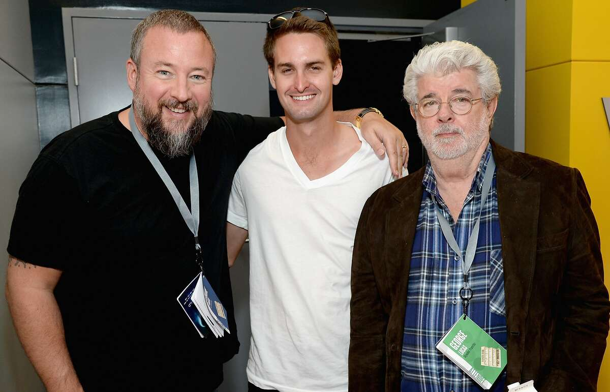 (L-R) VICE Co-Founder and CEO Shane Smith, Snapchat CEO Evan Spiegel and filmmaker George Lucas attend the Vanity Fair New Establishment Summit at Yerba Buena Center for the Arts on October 8, 2014 in San Francisco, California. (Photo by Michael Kovac/Getty Images for Vanity Fair)