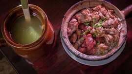 Clay pot #6 with Sausage, Spareribs, Preserved Pork and Duck with the house soup at Claypot House in S.F.