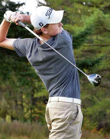 Albany Academy's Sean Puleo at the 10th tee during the Section II golf Class A championship at the Ballston Spa Country Club Wednesday Oct. 8, 2014, in Ballston Spa, NY.  (John Carl D'Annibale / Times Union) Photo: John Carl D'Annibale / 10028920A