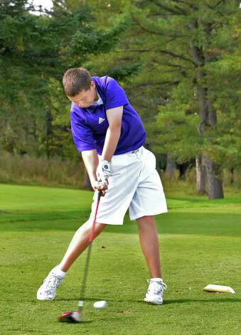 CBA's Connor Adams tees off on the 10th hole during the Section II golf Class A championship at the Ballston Spa Country Club Wednesday Oct. 8, 2014, in Ballston Spa, NY.  (John Carl D'Annibale / Times Union) Photo: John Carl D'Annibale / 10028920A